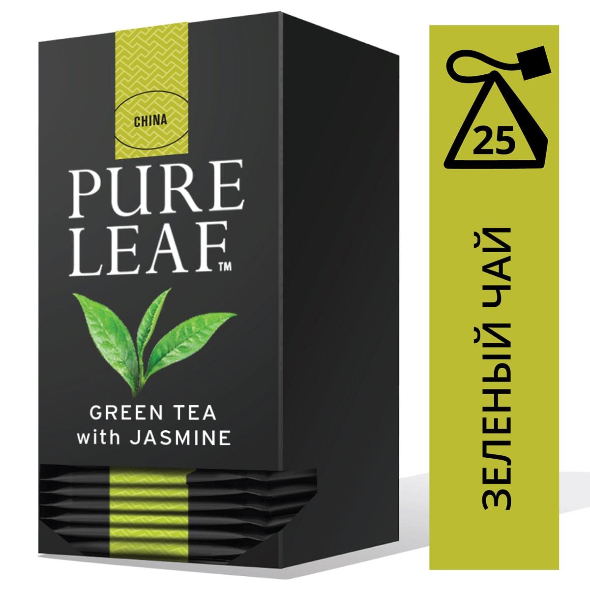 PURE LEAF зеленый чай в пакетиках Jasmine (25шт) - Крупнолистовой чай